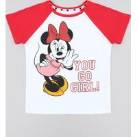 Blusa Infantil Raglan Minnie Com Glitter Manga Curta Decote Redondo Branca