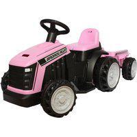 Carrinho Mini Trator Infantil Elétrico Rosa 6V Com Reboque