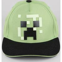 Boné Infantil Aba Curva Creeper Minecraft Verde