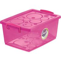 Caixa Organizadora Com Trava- Pink- 15,3X32,5X23,5Cmordene