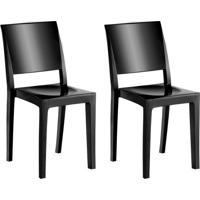 Conjunto Com 2 Cadeiras De Plástico Hydra Preto