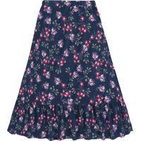 Saia Longa Floral- Azul Marinho & Rosa-Primeiro Passpuc