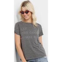 Camiseta Lez A Lez Estampada Aplique Feminina - Feminino-Cinza