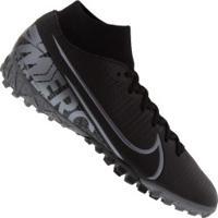Chuteira Society Nike Mercurial Superfly 7 Academy Tf - Adulto - Preto/Cinza