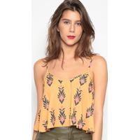 Blusa Cropped Floral- Amarelo Escuro & Preta- Sommersommer