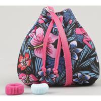 Bolsa Infantil Estampada Floral Com Elástico De Cabelo Preta - Único