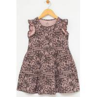 Vestido Infantil Com Estampa Floral - Tam 5 A 14