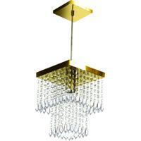 Lustre Pendente De Cristal Acrílico Marrycrilic Dourado