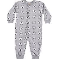 Pijama Bebê Macacão Longo Boca Grande Ursinho - Masculino-Mescla