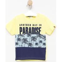 "Camiseta ""Paradise"" Com Recortes- Amarela & Azul Marinhocostã£O Fashion"