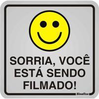 Placa De Alumínio Sorria Você Esta Sendo Filmado! Amarelo E Preto Sinalize
