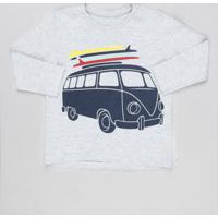 Camiseta Infantil Carro Com Pranchas Manga Longa Gola Careca Cinza Mescla
