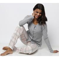 Pijama Canelado - Cinza & Rosa Clarocor Com Amor