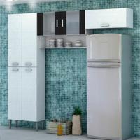 Cozinha Compacta Quartz 7 Portas Braco Com Branco Com Linho Kit'S Paraná