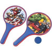 Kit De Frescobol Disney Avengers: 2 Raquetes E 1 Bolinha - Azul/Vermelho