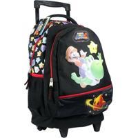 Mochila Com Rodinhas Super Mario 87298591 Preta - Unissex
