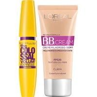 Kit Máscara De Cílios Maybelline Colossal Lavável + Bb Cream L'Oreál Paris Clara - Feminino