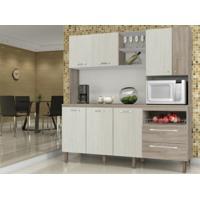 Cozinha Compacta Jade Com Tampo Arena/Nogal - Kits Paraná