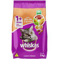 Ração Para Gatos Whiskas Adultos 1+ Anos Sabor Mix De Carne 3Kg