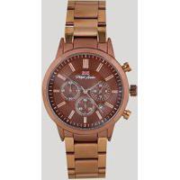 Relógio Cronógrafo Philiph London Masculino - Pl80090613M Marrom