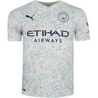 Camisa Manchester City Iii 20/21 Puma - Masculina - Branco/Azul Esc