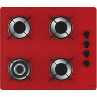 Cooktop Casavitra 4 Bocas Tripla Chama Tetris - Vermelho