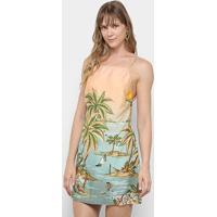 Vestido Curto Farm Recanto Baiano Amarração - Feminino-Estampado