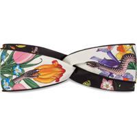 Gucci Headband Com Estampa 'Flora Snake' - Preto