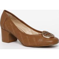Sapato Tradicional Em Couro Com Pespontos - Marrom Clarocapodarte