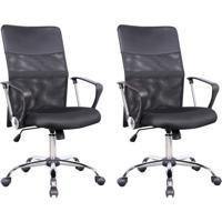 Conjunto Com 2 Cadeiras De Escritório Diretor Giratória Com Braços Vancouver Preto