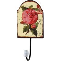 Cabideiro De Parede Flor 1 Gancho Rosa Metal Oldway