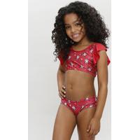 Biquíni Infantil Estampado Minnie Com Babado E Proteção Uv50+ Vermelho