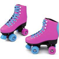 Patins Quad Roller - Retrô - Rosa E Azul - 36 - Dtc