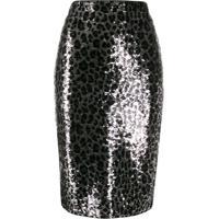 Michael Michael Kors Leopard Print Sequin Skirt - Preto
