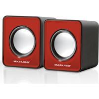 Caixa De Som Multilaser 2.0 Mini 3W Rms Vermelho - Sp197