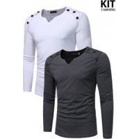 Kit 2 Camisetas Manga Longa Abotoadura Horizontal - Branca E Cinza