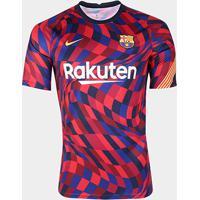 Camisa Barcelona Pré-Jogo 20/21 Nike Masculina - Masculino-Vermelho+Azul