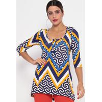 Blusa Geométrica Alongada - Azul & Amarela- Thiptonthipton