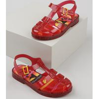 Sandália Infantil Grendene Minnie Com Glitter Vermelha