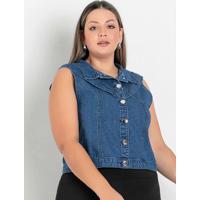 Colete Jeans Com Babado Plus Size