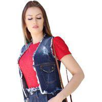 Colete Jeans Faro Jeans Com Respingos