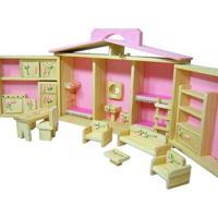 Casinha De Boneca Kits E Gifts Com Móveis - Estilo Maleta - Madeira - 5 Ambientes Rosa