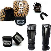 Kit Boxe Muay Thai Top -Luva Bandagem Bucal Caneleira - Onça 14 Oz
