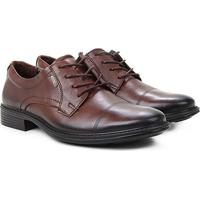 Sapato Social Couro Pegada Cadarço Masculino - Masculino-Marrom