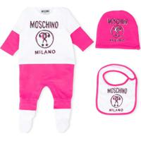 Moschino Kids Pijama Com Estampa De Logo - Rosa