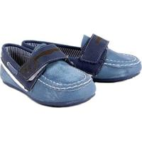 Mocassim Infantil Klin Curumim Jeans Masculino - Masculino-Preto+Azul