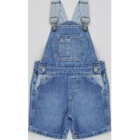Jardineira Jeans Infantil Com Bolsos Azul Claro