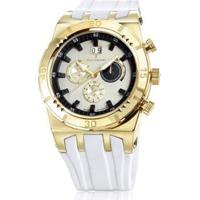 Relógio Jean Vernier Pulseira Silicone Feminino - Feminino-Branco+Dourado