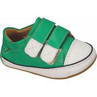 Tênis Em Couro Com Velcro- Verde & Brancokimey