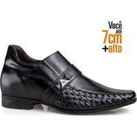 Sapato Social Couro Rafarillo Masculino Salto 7Cm Conforto - Masculino-Cinza